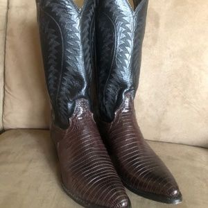 Justin Chocolate & Black Iguana Lizard Cowboy Boot